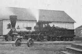 A locomotive similar to those used on the Transcontinental railroad.